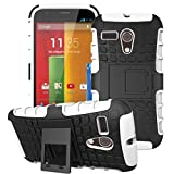 Moto G -1st Gen Case, ANGELLA-M Built-in Kickstand Hybrid Armor Case Detachable 2in1 Shockproof Tough Rugged Dual-Layer Cover Case for Motorola Moto G X1032 (1st Gen,2013) White