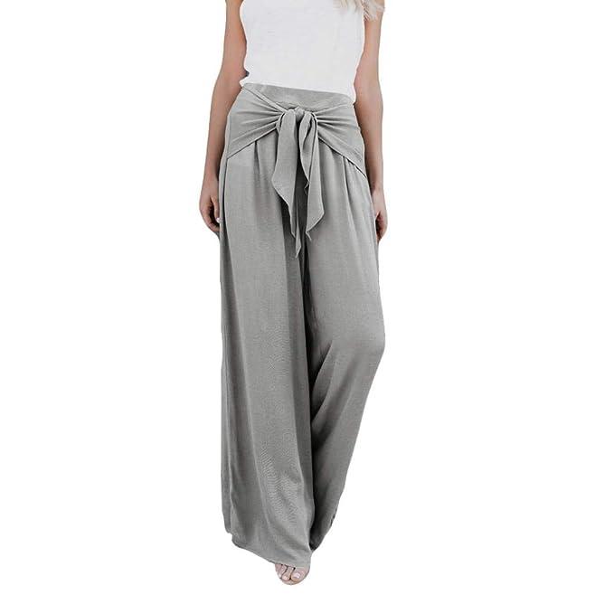 7ad233350e7f95 Elecenty pantaloni donna estivi eleganti donne allentano casuale pantaloni  larghi della flangia del fondo della campana larga della vita alta  allentata di ...