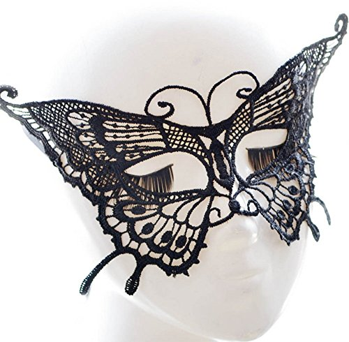 Kanggest Butterfly Masquerade Mask Women's Black Lace Mask Exquisite High-end Lace Halloween Costume Balck Masks for $<!--$2.78-->
