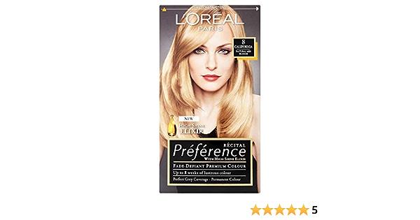 LOreal Paris Recital Preference Infinia, tinte permanente para el pelo, color rubio claro California natural, pack de 3