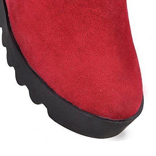 Allhqfashion Women's Low-top Zipper Frosted High Heels Round Closed Toe Boots Claret 1lHvEqZctb