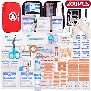 HONYAO Botiquín de Primeros Auxilios, Mini Kit de Supervivencia - Bolsa Médico de Emergencia Completo para Coche Barco Motocicleta El Hogar Lugar de Trabajo Mochila y Acampar Senderismo Viaje 6