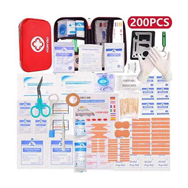 HONYAO Botiquín de Primeros Auxilios, Mini Kit de Supervivencia - Bolsa Médico de Emergencia Completo para Coche Barco Motocicleta El Hogar Lugar de Trabajo Mochila y Acampar Senderismo Viaje 2