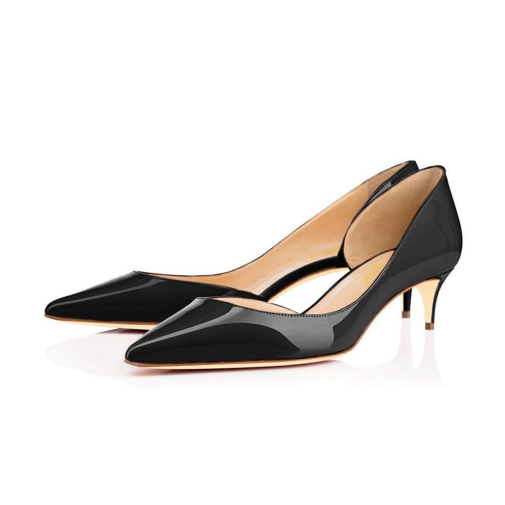 FSJ Women Classic D'Orsay Pumps Mid Low Heels Slip On Patry Office Comfy Dress Shoes Size 9.5 Black-4.5 cm