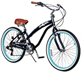 Fito Women's Modena EX Aluminum Alloy 7-Speed 26-Inch Wheel Beach Cruiser Bike, Midnight Blue/Turquoise