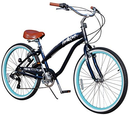 Fito Women's Modena EX Aluminum Alloy 7-Speed 26-Inch Wheel Beach Cruiser Bike, Midnight Blue/Turquoise