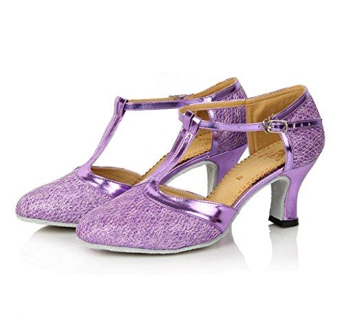 de Satén Latinos Baile Mujeres Morado de Zapatos Zapatos mogeek ZxFwqnO5Y