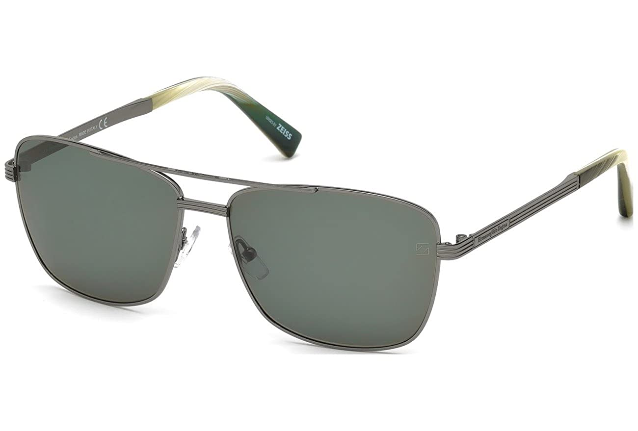 383b314224e Amazon.com  Ermenegildo Zegna Aviator Sunglasses - EZ0031 08N - Shiny  Gumetal   Green (61 15 145)  Clothing