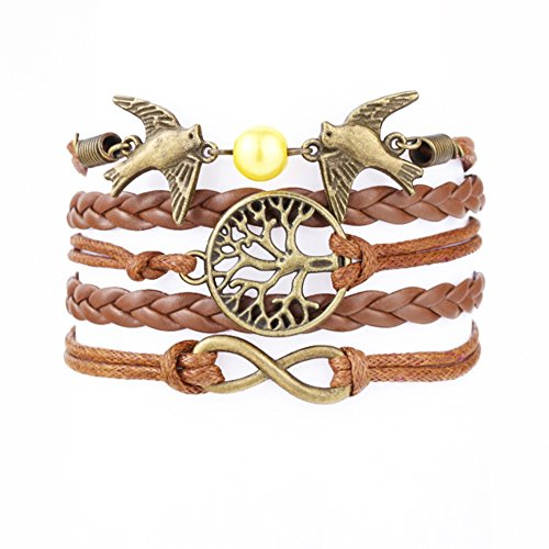 Vintage Style Brown Leather Rope Bronzed Love Birds Tree Branch Love Bracelet ()