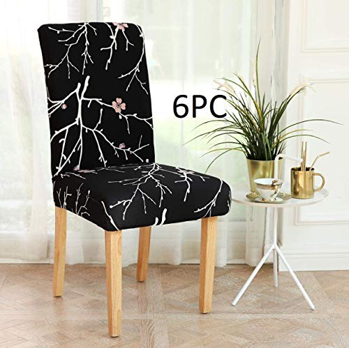 Lukzer Polyester Stem Design Stretch Removable and Washable Protective Dining Chair Cover (Black) – 6 Pieces, Seat…