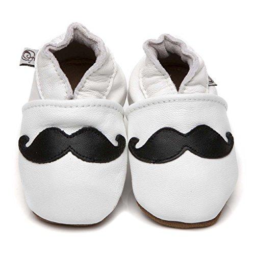 Suaves Zapatos De Cuero Del Bebé Moustache 12-18 meses