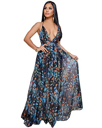 - Women's Floral Long Maxi Dresses - V Neck Backless Strap Boho Summer Beach Party Dresses