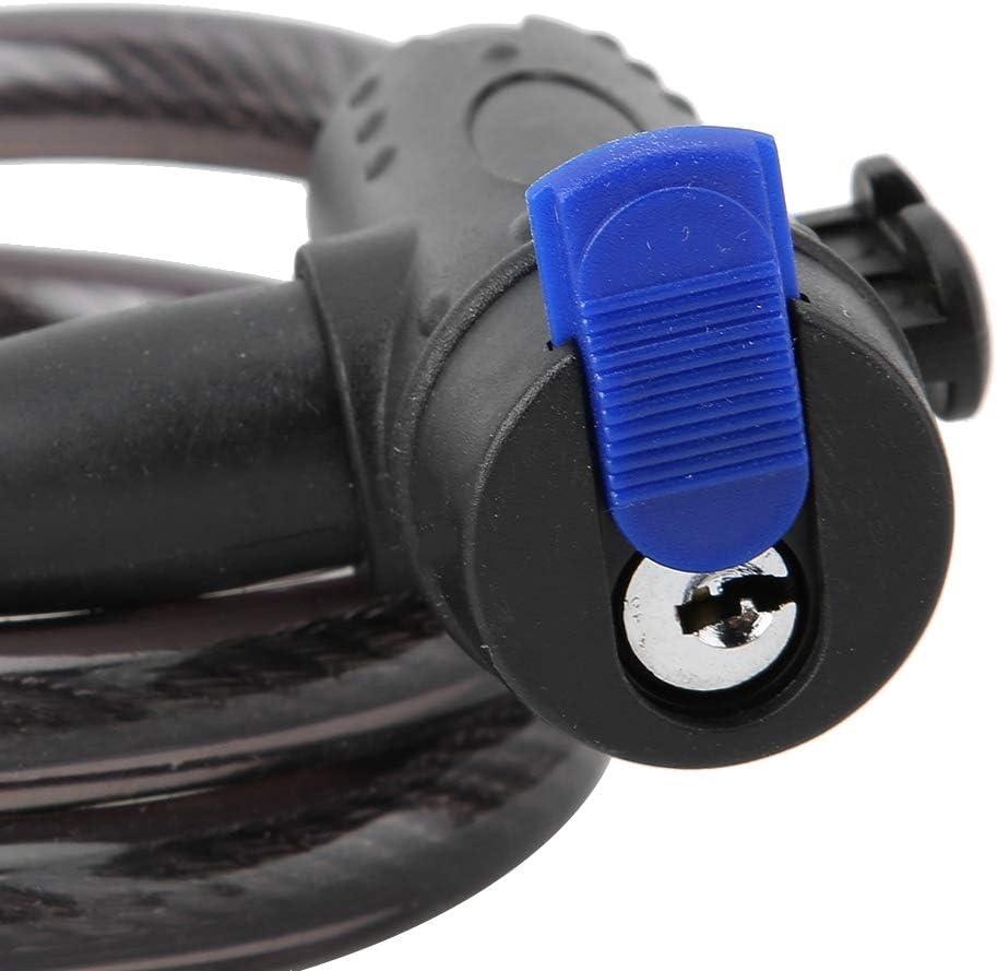 4 Feet Steel Cable Coiled Secure Keys Bike Cable Lock with Keys Bike Locks for Sport Bicycle Mountain Bike Black Bike Lock