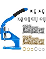 BEAMNOVA Blue Upgraded Hand Press Grommet Machine Eyelet Tool Set, 3 Hole Punching Dies, 3 Setting Dies for 1/4, 3/8, 1/2 Inch (6, 10, 12mm), 1500 Golden & 1500 Silver Grommets