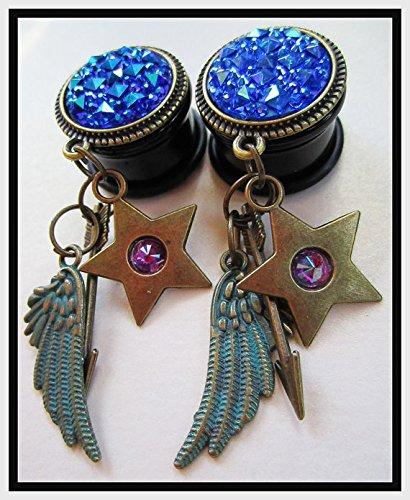 The Hunter Star, Arrow, Wings EAR PLUGS dangle earrings gauges 2g, 0g, 00g, 7/16