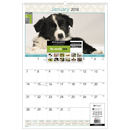 "AT-A-GLANCE Monthly Wall Calendar, January 2018 - December 2018, 15-1/2"" x 22-3/4"", Puppies (DMW16728)"