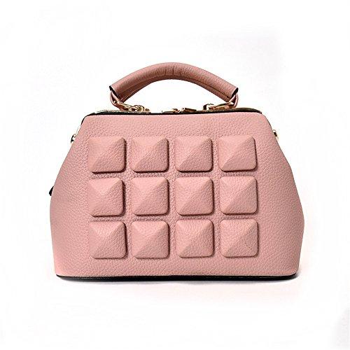 GWQGZ Un Hombro Mano Lingge Zipper Bolsa Pequeña Tendencia Todos-Match Satchel Gules Pink