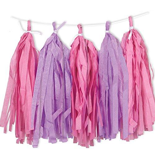 9ft Tissue Paper Pink & Purple Tassel