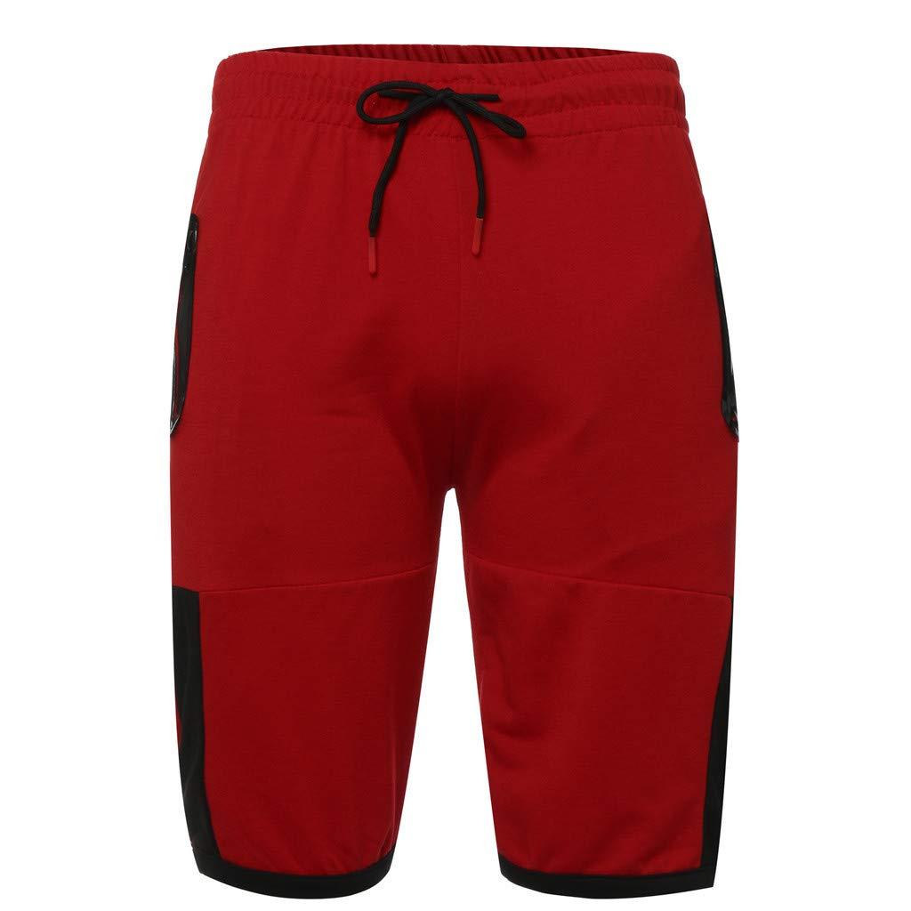 NUWFOR Men Zipper Casual Splice Stripe Beach Work Casual Men Short Trouser Shorts Pants(Red,US:S Waist25.98-29.92''') by NUWFOR (Image #4)