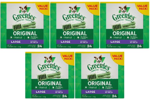 Greenies Dental Chews Value Size Large 180oz(5 by 36-Ounce Tubs)