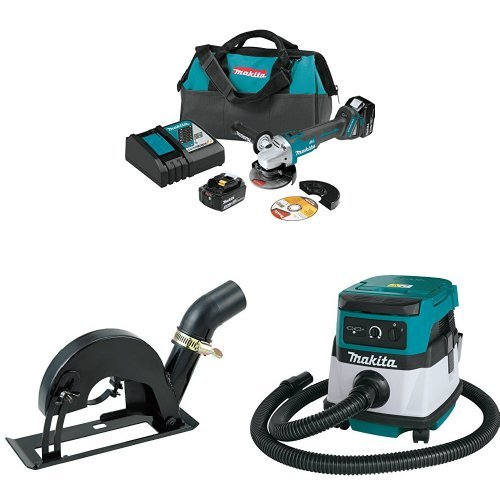 Makita XAG04T 18V LXT Brushless 4-1/2-Inch - 5-Inch Cut-Off/Angle Grinder Kit, 193794-5 Dust Extraction Cutting Guard, XCV04Z 18V X2 LXT (36V) 2.1 Gallon HEPA Filter Dry Dust Extractor/Vacuum