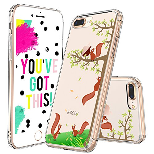 (iPhone 7 Plus Case, iPhone 8 Plus Case Clear, MOSNOVO Cute Squirrel Pattern Clear Design Printed Plastic Hard with TPU Bumper Protective Case Cover for iPhone 7 Plus (2016) / iPhone 8 Plus (2017) )
