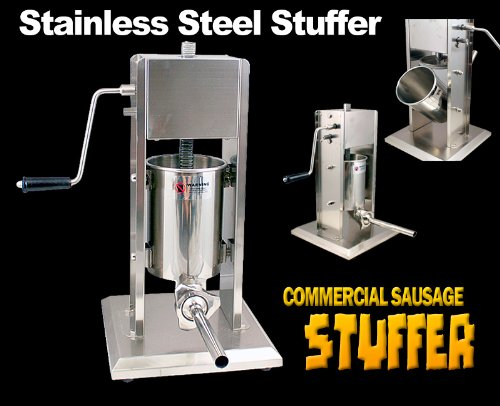 New Commercial Grade Deluxe Stainless Steel Sausage Stuffer - 3L