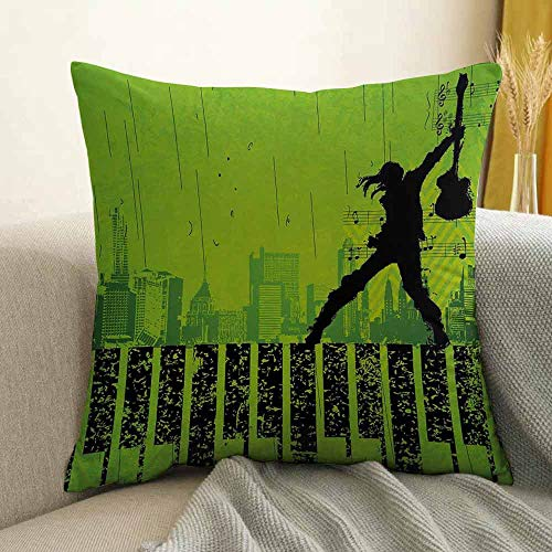 Popstar Party Microfiber Music in The City Theme Singer with Electric Guitar on Grunge Backdrop Sofa Cushion Cover Bedroom car Decoration W20 x L20 Inch Lime Green Black