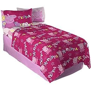 twin sheet sets for girls 3 piece kids peppa pig microfiber bedding set flat sheet. Black Bedroom Furniture Sets. Home Design Ideas