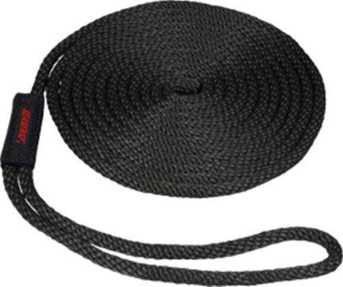 SeaSense Multi-Filament Nylon Pre-Sliced Solid Braid Dock Line with Chafe Guard, 3/8-Inch X 15-Foot with 10-Inch Eye ()