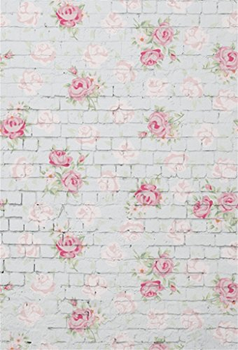 AOFOTO 5x7ft Sweet Rose Flowers on Vintage Brick Wall Background Birthday Decor Spring Photography Backdrop Kid Baby Girl Mother Lady Woman Artistic Portrait Photo Studio Props Video Drape ()