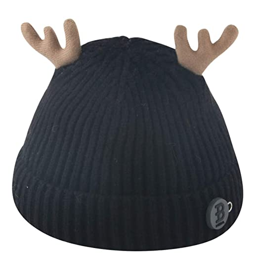 bdf0eb952ce callm Toddler Girl Boy Baby Infant Hat Winter Deer Crochet Knit Hat Beanie  Cap (Black