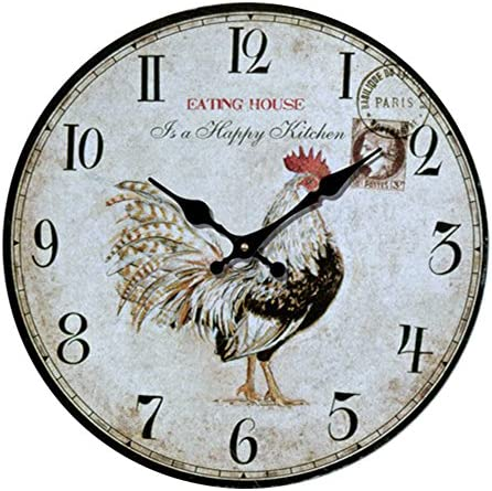 YeYo MDF Waterproof Wooden Wall Clock European Style Country Golden Rooster Silent Art Decor for Home Living Room Office Decoration 16inch