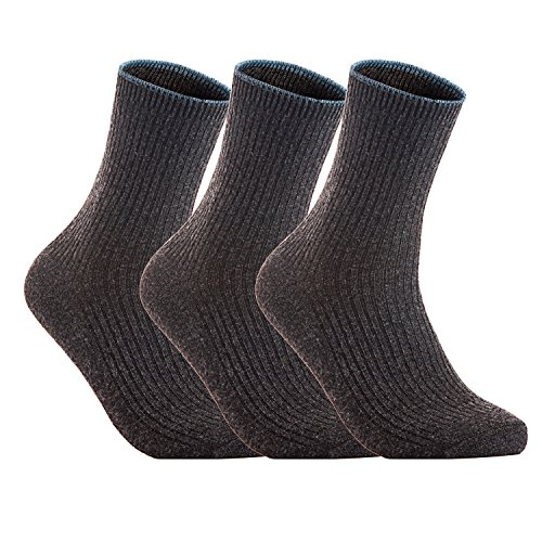 Lovely Annie Women's 3 Pairs Wool Blend Crew Socks HR1612 Casual Solid Size 6-9 (Dark Grey)