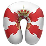 BRECKSUCH Alternate Kingdom Of Spain Flag Print U Shaped Pillow Memory Foam Neck Pillow For Travel And Relief Neck Pain Fashion Super Soft Cervical Pillows With Resilient Material Relex Pollow