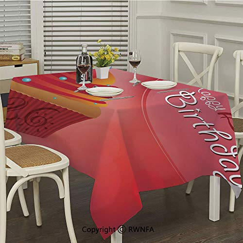 (RWNFA Polyester Tablecloth,Romantic Little Cupcake Lovers Surprise Valentines Print(36