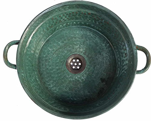 Egypt gift shops Old World Oxidized Verdigris Green Patina Vessel Pure Natural Copper Bathroom Design Handles Sink Remodel Construction Renovation Cabinet Counter Top Bath Toilet Shower Decoration by Egypt Gift Shops