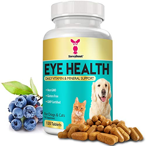 Eye Vitamins for Dogs & Cats - Natural Cat & Dog Supplement w/ Beta Carotene, Lycopene, Bilberry, CoQ10, Vitamin A, Grape Seed Extract & Amino Acids for Vision Health, Cell Growth & Better Circulation