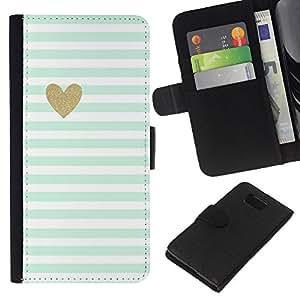 All Phone Most Case / Oferta Especial Cáscara Funda de cuero Monedero Cubierta de proteccion Caso / Wallet Case for Samsung ALPHA G850 // Blue White Baby Stripes Pattern Heart