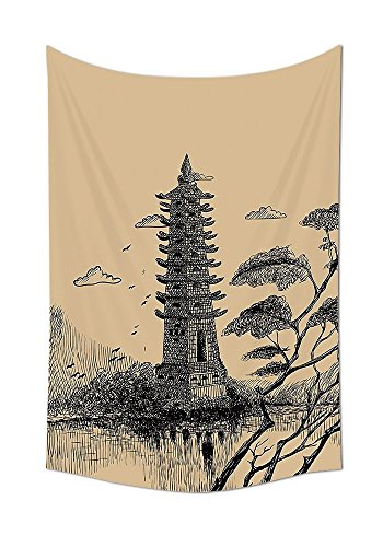 asddcdfdd Asian Decor Collection Old Stone Tiered Tower Vintage Style Taoist House of Faith Historical Illustration Bedroom Living Room Dorm Wall Tapestry Pale Brown Black by asddcdfdd
