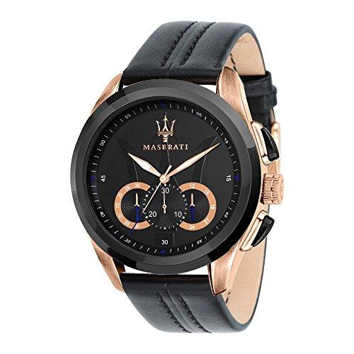MASERATI Men's 'Traguardo' Quartz Stainless Steel and Leather Fashion Watch, Color:Black (Model: R8871612025)
