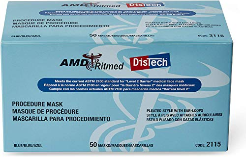 AMD Ritmed Distech Procedure Disposable Medical Face Mask | Pleated style with Ear Loop Face Masks | Comfortable use for hours | Level 2 Barrier Standard (50 pieces, Blue)
