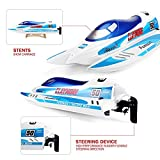FunTech RTR 2.4GHz High Speed Electric RC Boat 55 KM/H Remote Control Boat [Blue] - Freshwater - Pools Bathtubs Lakes