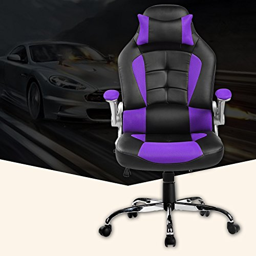Merax King Series High-back Ergonomic Pu Leather Office Chair Racing Style Swivel Chair Computer Desk Lumbar Support Chair Napping Chair (Purple)