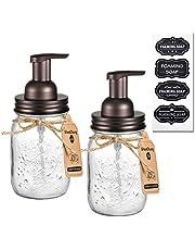 Mason Jar Foaming Soap Dispenser - Bronze - Rustproof Stainless Steel Mason Jar Lid and Foam Soap Dispenser Pump,Cute Hand Soap Dispenser Glass for Bathroom Vanities or Kitchen Sink,Countertops/2 Pack
