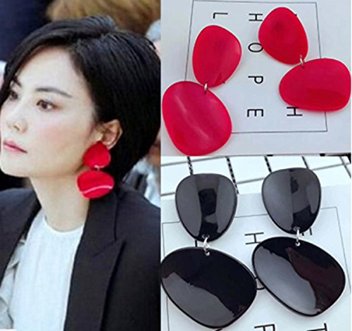 Oval Personalized Ring (European style fashion star with bright geometric oval earrings personalized earrings earrings ladies temperament long section of female)