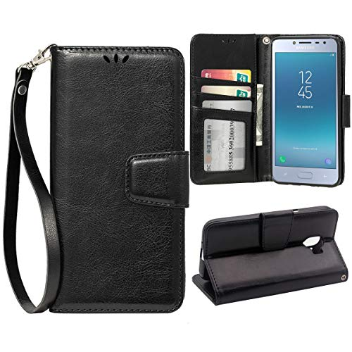 Flip Case for Samsung Galaxy J2 Pro(2018), Scratch-Proof Leather Wallet Stand Cover with Card Holder Phone Case Protector for Samsung Galaxy J2 Pro(2018), Black