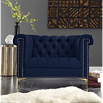Iconic Home Winston Tufted Gold Trim Navy Blue PU Leather Club Chair With  Gold Tone Metal
