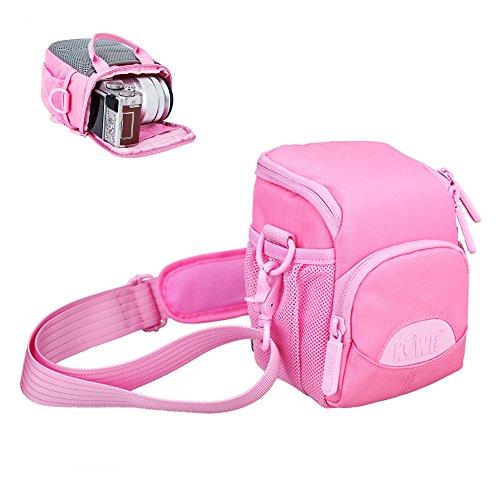 "Mirrorless Camera Case Kiwifotos Camera Bag Pouch for Sony A6500 A6300 A6000 NEX-7 NEX-6 Fujifilm X-A5 X-A20 X-E3 Olympus TG-5 TG-4 E-PL8 E-M10 Mirrorless Camera with Lens less than 3.9x2.8x4.7"" -Pink"