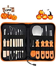 Pumpkin Carving Kit, Upgrade Soft Grip Rubber Handle 14PCS Halloween Pumpkin Carving Kit, Melon Fruit Kitchen Durable Stainless Steel Decoration Tools Kits